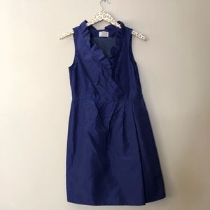 J. Crew Ruffle Front Navy Dress | 8 Petite